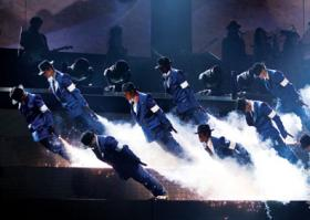 "Cirque du Soleil performers dance in their new show: ""Michael Jackson: The Immortal World Tour"""