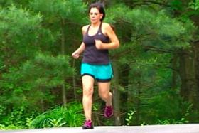 Gayle running, as seen on WGBH Channel 2 Greater Boston program
