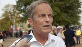 Rep. Todd Akin, R-Mo., talking with reporters at the Missouri State Fair the week of Aug. 13.