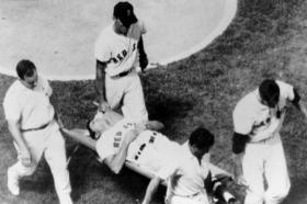 "Aug. 18, 1967: Conigliaro was carried off the Fenway Park field by teammates Mike Ryan and Jim Lonborg, trainer Buddy LeRoux, and Angels' trainer Fred Federico. ""When I got to him,"" said team physician Dr. Thomas Tierney, ""He said, 'It hurts like hell. I"