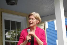 Senator-Elect Elizabeth Warren speaks to supporters at a campaign event.