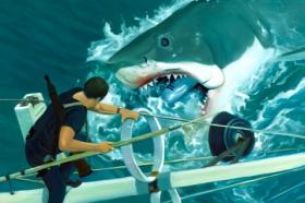 Two new shark paintings by Jaws artist Paul McPhee will be featured in the Sharks, Art, and Conservation exhibit at Jaws Fest 2012.