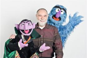 Jerry Nelson with Count von Count and Herry Monster.