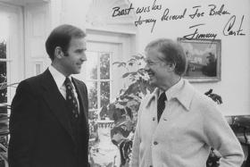 Sen. Joe Biden talks with then-President Jimmy Carter.