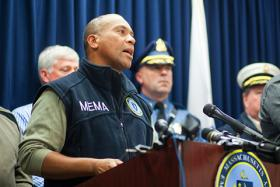 Deval Patrick provides an update on storm preparations on Oct. 28, 2012, from the MEMA headquarters in Framingham.