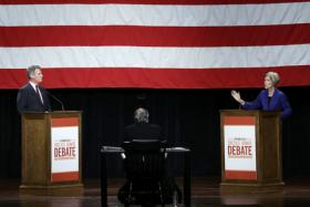 Democratic challenger Elizabeth Warren speaks during a debate with Republican incumbent Sen. Scott Brown in Springfield, Mass., Wednesday Oct. 10, 2012. 