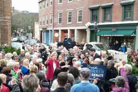Elizabeth Warren addresses supporters in Gloucester on Oct. 31, 2012.