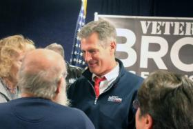 Sen. Scott Brown greets supporters at a VFW Hall in North Billerica on Nov. 1, 2012.