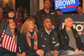 Brown supporters listening as the Senator urges