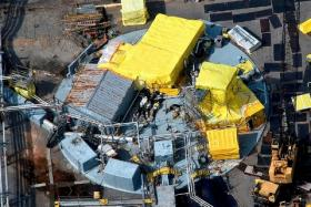 An aerial view of a nuclear waste container at the Savannah River Site in South Carolina.
