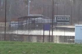 Flooding behind Worcester State University.