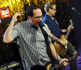Craig Finn, left, and Tad Kubler of The Hold Steady perform during a taping of the band for The New Now on Yahoo! Music in Santa Monica, Calif., Wednesday, July 8, 2009.