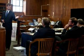Jim O'Brien, chief of the attorney general's public integrity division, presents the jury with opening statements against Former State Treasurer Tim Cahill at Suffolk Superior Court in Boston on Nov. 5, 2012.