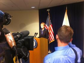 Attorney General Martha Coakley meets the press.