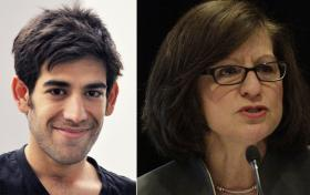 Aaron Swartz and U.S. Attorney Carmen Ortiz