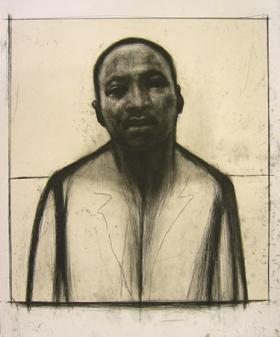 An etching of Martin Luther King, Jr., by John Wilson
