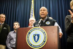 Gov. Deval Patrick speaks at the Massachusetts Emergency Management Agency bunker in Framingham.