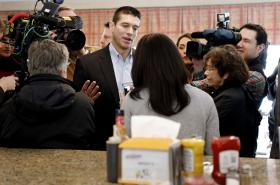 Former Navy SEAL GabrielGomez talks with patrons at Brody's Diner in Shrewsbury, Mass. Thursday, Feb. 28, 2013, while kicking off his Republican campaign for the Senate seat vacated by now Secretary of State John Kerry. Gomez, Norfolk state Rep. Daniel Wi