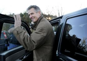 Former U.S. Sen. Scott Brown gets into his truck after voting on Election Day last November. Brown will not run for the open US Senate seat.