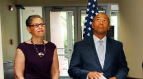 Susan Windham-Bannister and Gov. Deval Patrick in 2012.