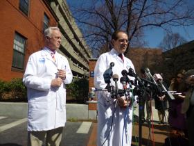 Dr. George Velmahos, chief of trauma services at Mass General Hospital, right.