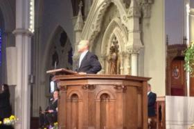 Gov. Deval Patrick addressed the crowd at the Cathedral of the Holy Cross.
