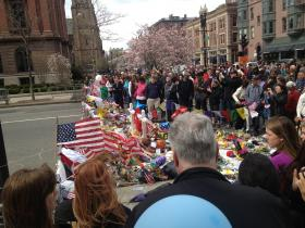 A crowd gathered on Boylston St. on Saturday, April 20.