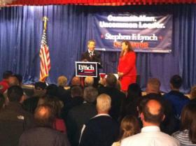 Stephen Lynch delivers his concession speech in Dedham.