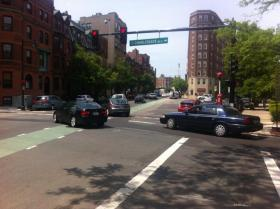 The intersection at Charlesgate West and Beacon Street.