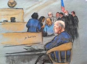 "James ""Whitey"" Bulger sits in the courtroom on June 11, 2013."