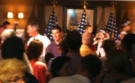 Former U.S. Senator Scott Brown stumped for Republican Senate candidate Gabriel Gomez Monday night.