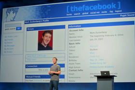 Facebook founder and CEO Mark Zuckerberg shows an early version of his social network.