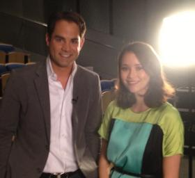 Jared Bowen with actress Katie Chang