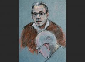 This courtroom sketch depicts Stephen Flemmi testifying as defendant James Bulger listens, below, during his murder and racketeering trial at U.S. District Court in Boston, Thursday, July 18, 2013.