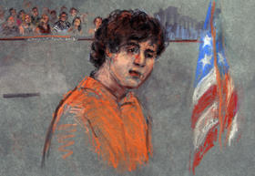 This courtroom sketch depicts Boston Marathon bombing suspect Dzhokhar Tsarnaev during arraignment in federal court Wednesday, July 10, 2013 in Boston. The 19-year-old has been charged with using a weapon of mass destruction, and could face the death pena