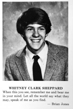 A yearbook photo of Whit Sheppard when he was at Deerfield Academy in the 1980s.