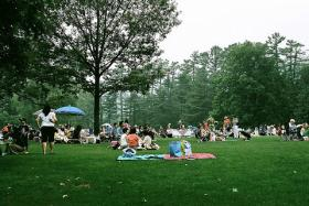 The lawn at Tanglewood. Tanglewood hosts a parade of performers throughout the summer.