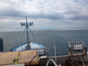 The view on board the research vessel Ocearch, which tracks and tags great white sharks off the coast of Cape Cod