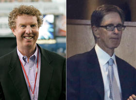 Boston Globe sports columnist Dan Shaughnessy (L), Red Sox principal owner and new Boston Globe owner John Henry (R)
