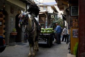 A horse-drawn cart in a Syrian market in 2008. Scenes like this are now nonexistent as fighting tears apart the country.