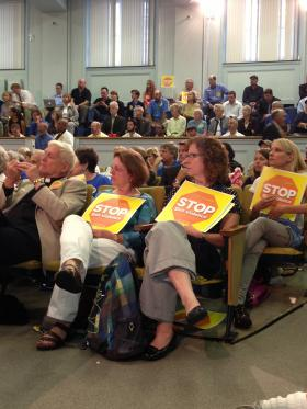 The final hearing on gun control at the Massachusetts State House was packed on September 13, 2013.