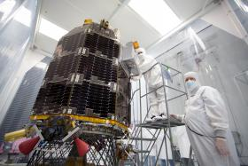 Engineers at NASA's Ames Research Center, Moffett Field, Calif., prepare NASA's Lunar Atmosphere and Dust Environment Explorer (LADEE) Observatory for acoustic environmental testing.