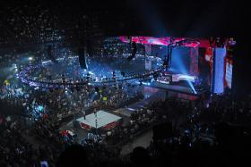 The view from the stands of Monday Night Raw, the flagship show of WWE. Chris Nowinski wrestled for WWE until he sustained a career-ending concussion.