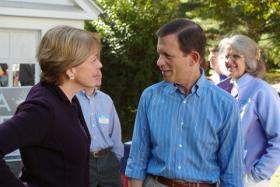 State Treasurer Steve Grossman talking with Attorney General Martha Coakley in 2009. Grossman is running for governor in 2014, as is Coakley.
