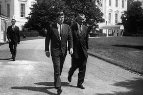 President Kennedy and Vice President Johnson in 1961, in front of the White House two years prior to the assassination of Kennedy.