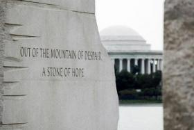 An inscription on the Martin Luther King, Jr. Memorial in Washington, D.C. Federal parks and monuments remained closed Tuesday during the government shutdown.