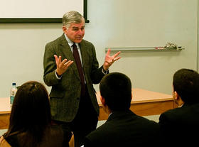 Former Massachusetts Gov. Michael Dukakis speaking to students in 2010. Dukakis stopped by Studio Three for a talk with Jim Braude and Margery Eagan.