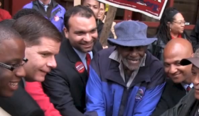 In this screenshot from a Marty Walsh campaign ad, City Councilor Tito Jackson, Walsh, City Councilor Felix Arroyo, former state Rep. Mel King and former mayoral candidate John Barros pose.