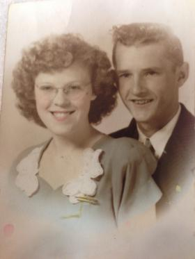 Grace and James Ward in their wedding photo.