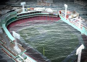 A rendering of a flooded Fenway Park.